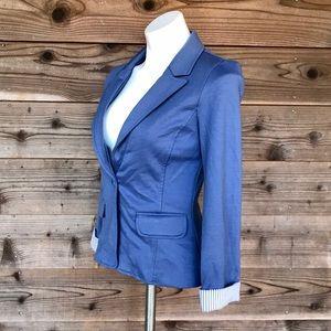 Mosaic & Co Dusty Blue Single Button Knit Jacket S